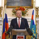 Russian ambassador Alexander Vladimirovich Yakovenko speaking at a news conference at his country's embassy in London (Kirsty O'Connor/PA)