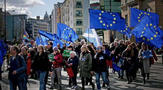 Demonstrators at a Brexit protest march in Edinburgh (Jane Barlow/PA)