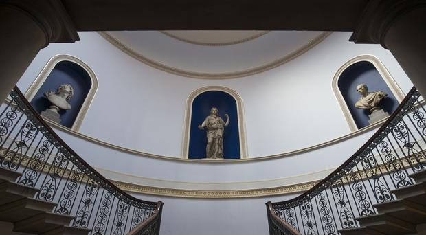 A staircase inside Wentworth Woodhouse in Rotherham (Aaron Chown/PA)