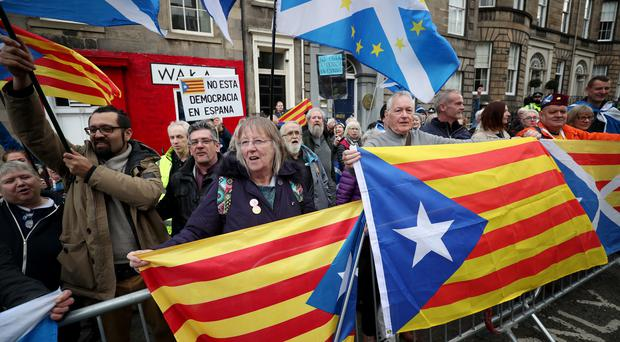 Demonstrators outside the Spanish Consulate in Edinburgh protest against the extradition of Clara Ponsati (Jane Barlow/PA)