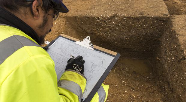 Archaeological recording as part of Highways England's A14 upgrade project (MOLA Headland Infrastructure/ PA)