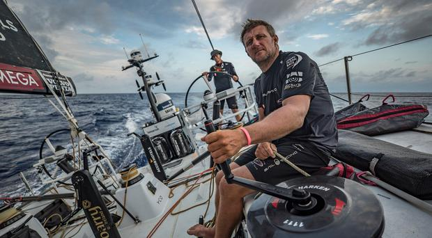 John Fisher on board the yacht during the Volvo Ocean Race (Jeremie Lecaudey/Volvo Ocean Race/PA)