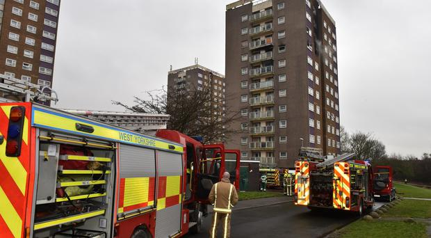 Tower block fire in Leeds