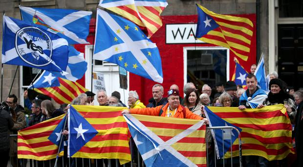 Demonstrators protested outside the Spanish Consulate in Edinburgh against the extradition to Spain of the former Catalan education minister Clara Ponsati (Jane Barlow/PA)