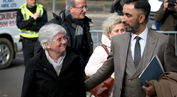 Former Catalan Minister Professor Clara Ponsati arrived at an Edinburgh police station with her lawyer Aamer Anwar (Jane Barlow/PA)