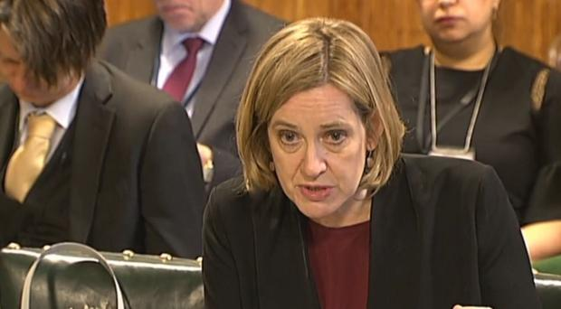 Home Secretary Amber Rudd giving evidence to the Home Affairs Select Committee