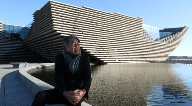 Japanese architect Kengo Kuma views the £80m VandA Dundee museum for the first time (Andrew Milligan/PA)
