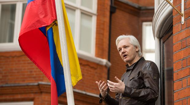 Julian Assange at the Ecuadorian embassy in London (Dominic Lipinski/PA)