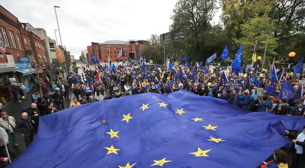 A rally at All Saints Park, before a Stop Brexit march (PA)