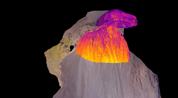 A 3D model of Stromboli in Italy where scientists are using drone technology to map volcanoes (University of Aberdeen/PA)