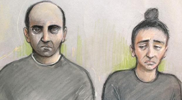 Ouissem Medouni, left, and his partner Sabrina Kouider are on trial over the death of French nanny Sophie Lionnet (Elizabeth Cook/PA)