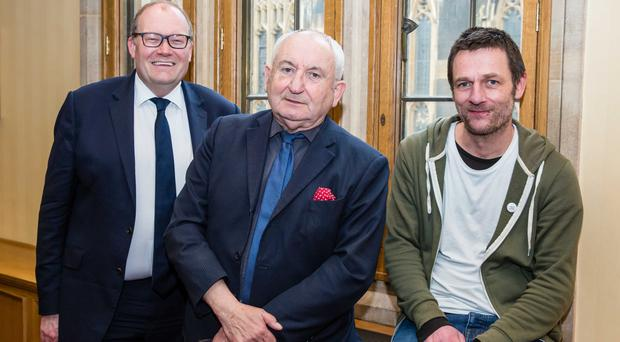 Darren Henley of Arts Council England (left), Big Issue founder John Bird and Big Green Bookshop founder Simon Key at launch of the alliance. (Big Issue/PA)