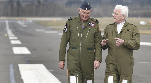 George Robertson (left) and Hamish MacLeod mark the closure of the runway (Lesley Martin/PA)