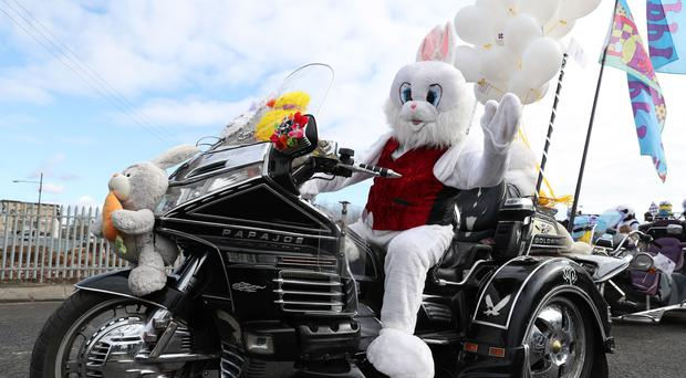 Bikers in fancy dress lead off the Glasgow Children's Hospital Charity's annual Easter Egg Run (Andrew Milligan/PA)