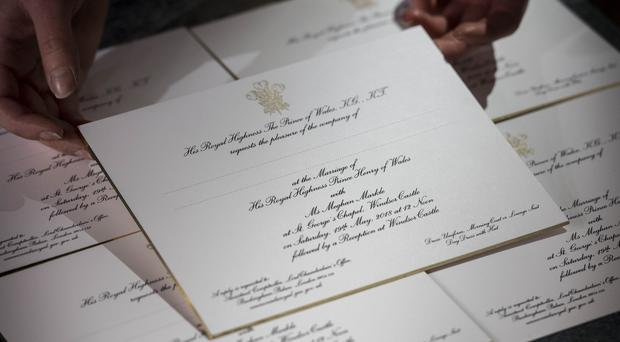 Invitations for Prince Harry and Meghan Markle's wedding in May (Victoria Jones/PA)