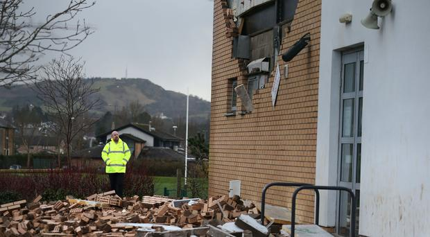 The collapsed wall at Oxgangs Primary School (Andrew Milligan/PA)