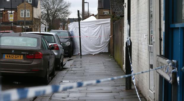 A police tent in Chalgrove Road, Tottenham (Jonathan Brady/PA)