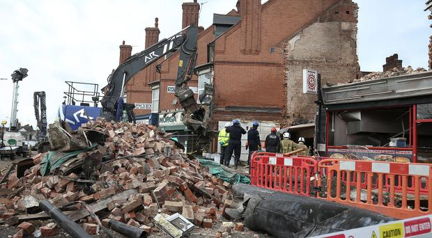 Emergency services at the scene of the explosion on Hinckley Road, Leicester (Aaron Chown/PA)