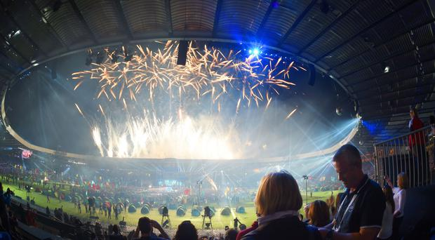 Fireworks mark the end of the 2014 Commonwealth Games Closing Ceremony. (Tim Ireland/PA)