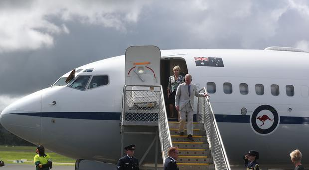 The Prince of Wales arrives at the airport on the South Pacific island of Vanuatu (Steve Parsons/PA)