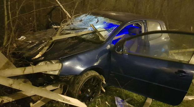 The car was skewered by wooden planks following the crash (West Yorkshire Police)