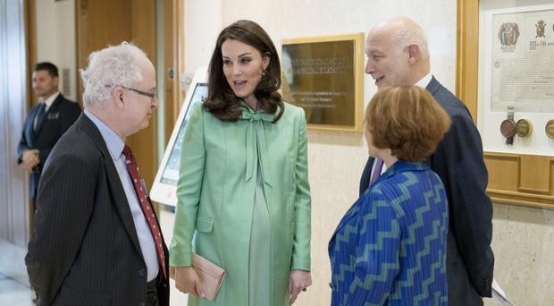 The heavily pregnant Duchess of Cambridge at the Royal Society of Medicine in London (Geoff Pugh/The Daily Telegraph/PA)