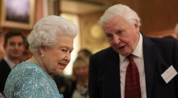The Queen and Sir David Attenborough, pictured during a Queen's Commonwealth Canopy event at Buckingham Palace, will appear in a documentary about the project. (Yui Mok/PA)