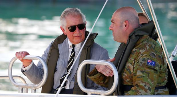 The Prince of Wales tours Darwin Harbour (Phil Noble/PA)
