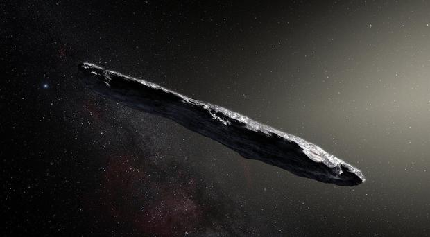 Artist's impression of the interstellar asteroid 'Oumuamua (ESO/M. Kornmesser/PA)