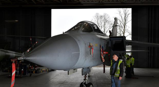 A Tornado GR4 goes on display at IWM Duxford as part of the museum's Battle of Britain exhibition (Joe Giddens/PA)