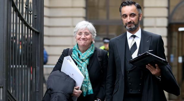 Former Catalan Minister Professor Clara Ponsati, who is facing extradition to Spain, leaves Edinburgh Sheriff Court with her lawyer Aamer Anwar (Jane Barlow/PA)