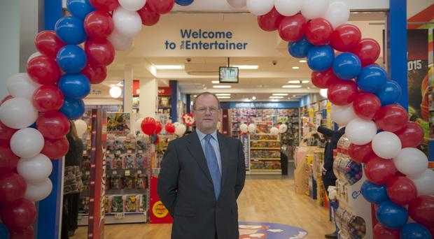 Gary Grant, founder of The Entertainer, at the Aylesbury store opening (PA)