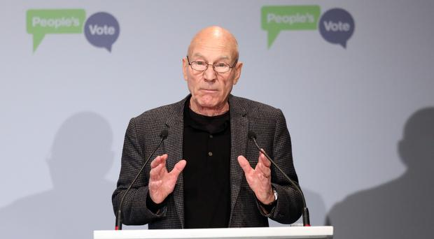 Sir Patrick Stewart addresses the crowd during the People's Vote campaign launch on Brexit at the Electric Ballroom in Camden Town (Jonathan Brady/PA)