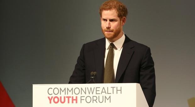 Prince Harry speaks during the Commonwealth Youth Forum (Simon Dawson/PA)