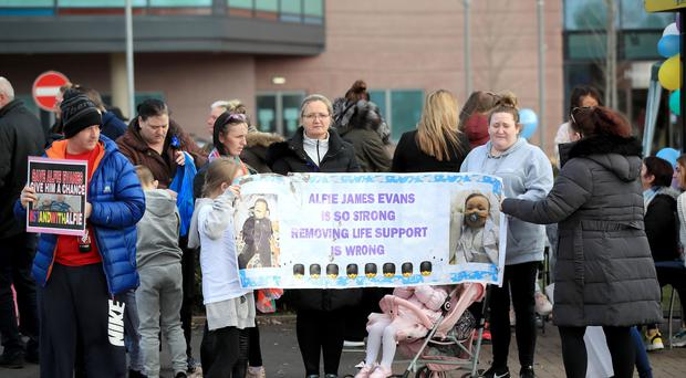 Protests outside Alder Hey Children's Hospital in Liverpool (John Stillwell/PA)