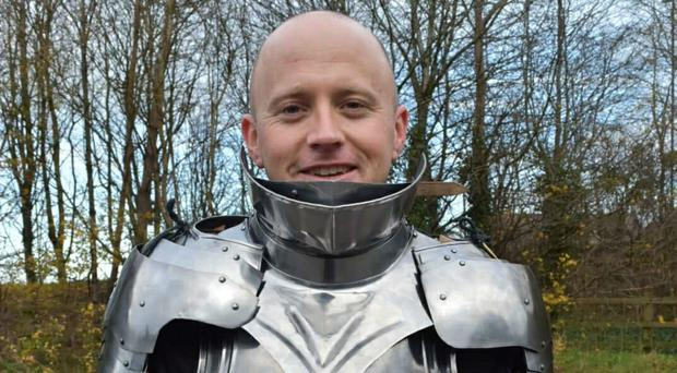 Army sergeant Paul Beddows, 33, will take on the Virgin Money London Marathon in a suit of armour (SSAFA/ PA)
