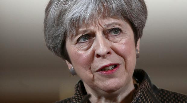 Prime Minister Theresa May during a press conference in 10 Downing Street, London on the air strikes against Syria (Simon Dawson/PA)