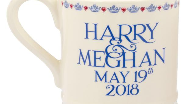 A souvenir mug commemorating Prince Harry and Meghan Markle's wedding (Emma Bridgewater/PA)