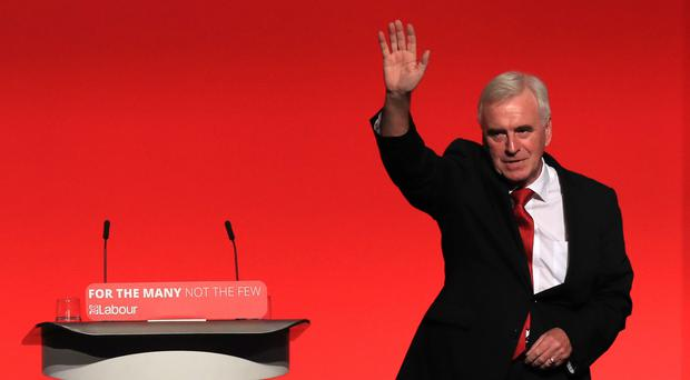 Shadow chancellor John McDonnell addressed city leaders in London (PA)