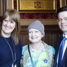 Lady Tessa Jowell, centre, with Sarah Jones and James Brokenshire (The Brain Tumour Charity/PA)