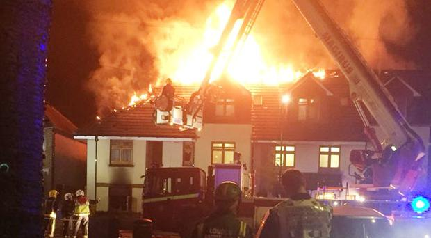 Picture taken from the Twitter feed of the London Ambulance HART of a fire at a care home in Chingford (London Ambulance HART/PA)