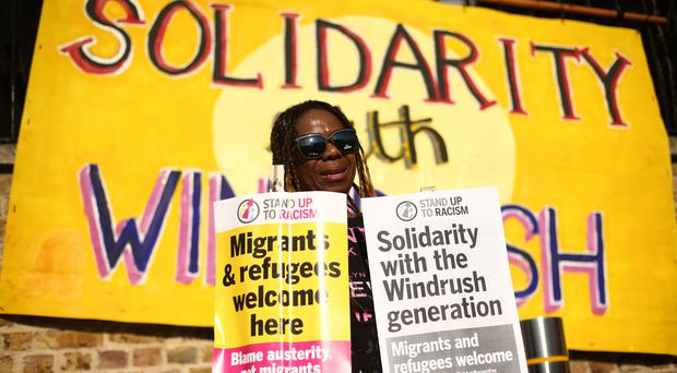 A solidarity rally for those affected by the Windrush scandal was held in London as Theresa May announced a compensation scheme (Yui Mok/PA)