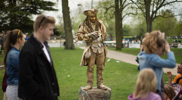Britain's Captain O'Goldie during the National Living Statue Competition for the 454th birthday celebration of Shakespeare (Aaron Chown/PA)