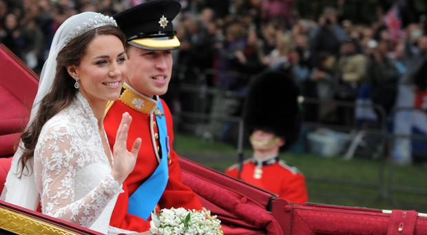 The Duke and Duchess of Cambridge on their wedding day (Dimitar Dilkoff/PA)