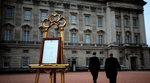 Royal births are traditionally announced with a paper bulletin placed on show at Buckingham Palace (Steve Parsons/PA)