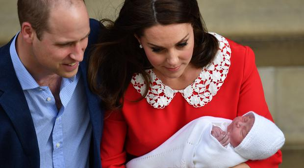 The Duke and Duchess of Cambridge and their newborn son (John Stillwell/PA)