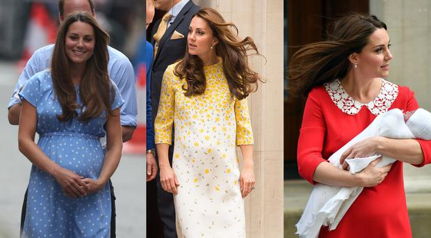 The Duchess of Cambridge after the birth of each of her three children