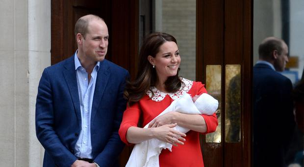 The Duke and Duchess of Cambridge and their newborn son outside the Lindo Wing at St Mary's Hospital in Paddington, London. (Kirsty O'Connor/PA)