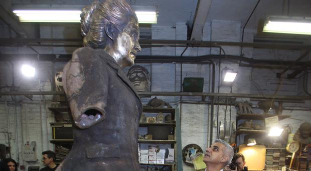 Sadiq Khan during a visit to AB Fine Art Foundry to see the finishing touches to a statue of suffragist leader Millicent Fawcett (Yui Mok/PA)