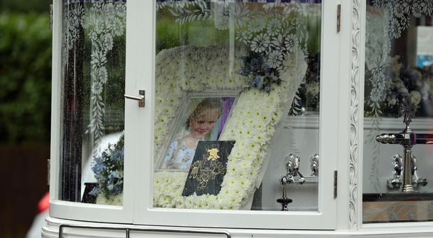 A hearse carrying the coffin of eight-year-old Mylee Billingham (Aaron Chown/PA)